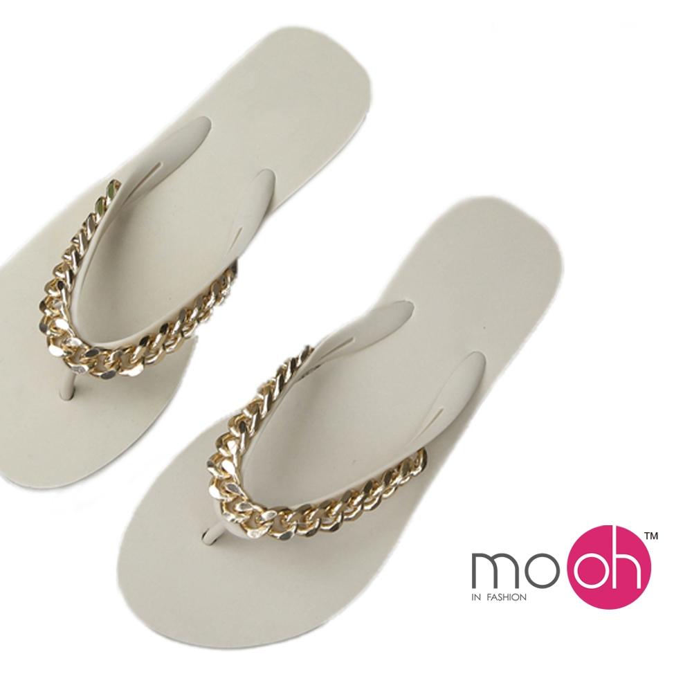 mo.oh-時尚平底鏈條人字夾腳拖鞋-白色