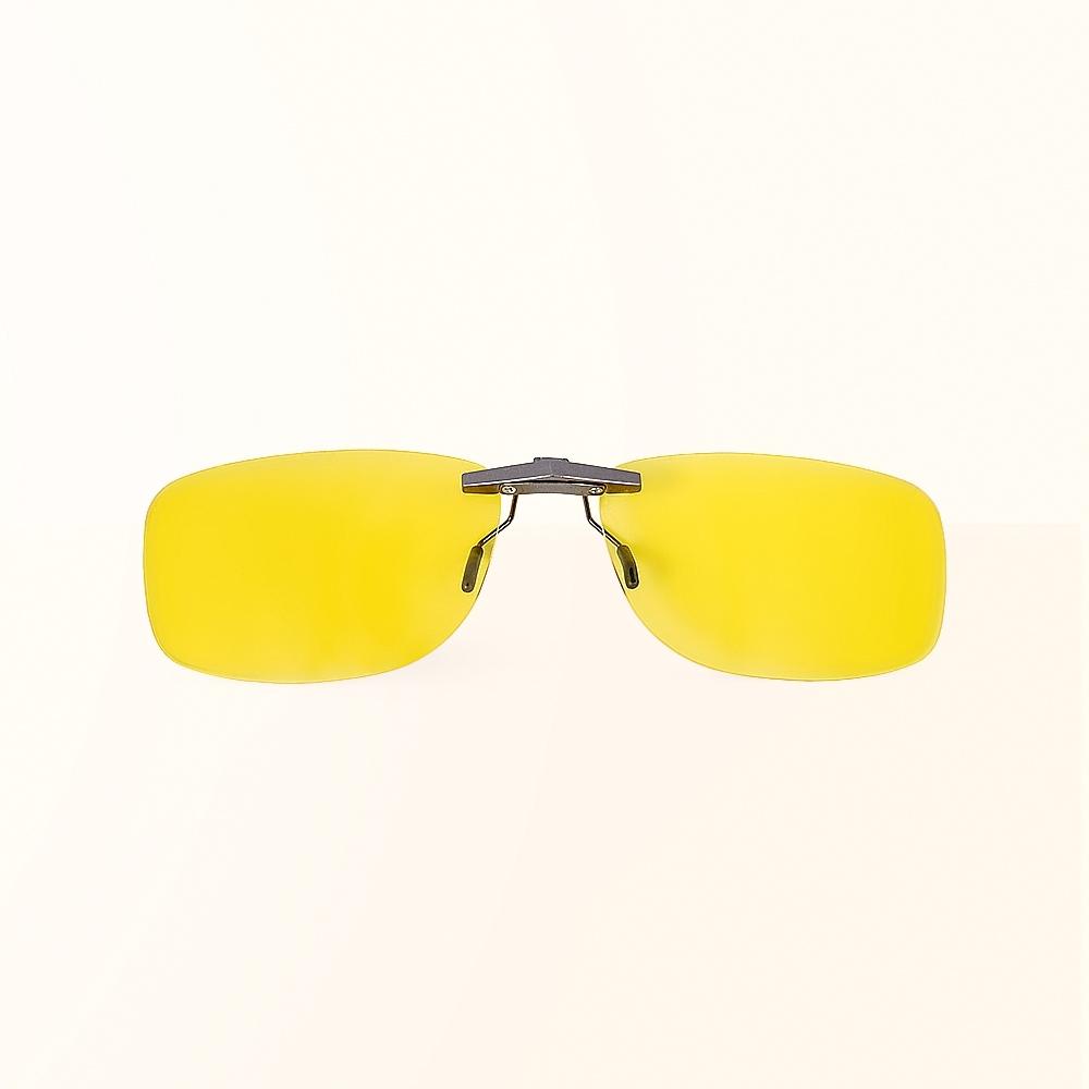 ALEGANT水仙黃鋁鎂合金夾式結構夜視防眩光寶麗來偏光太陽眼鏡/UV400墨鏡/車用夾片/外掛夾式鏡片