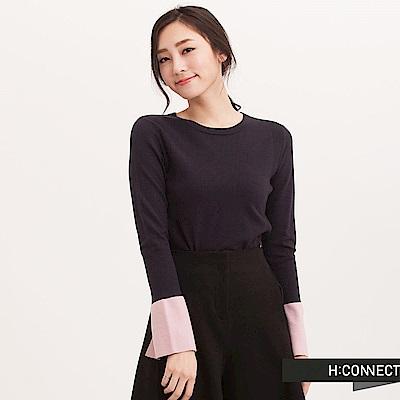 H:CONNECT 韓國品牌 女裝 - 跳色喇叭袖針織上衣-藍(快)