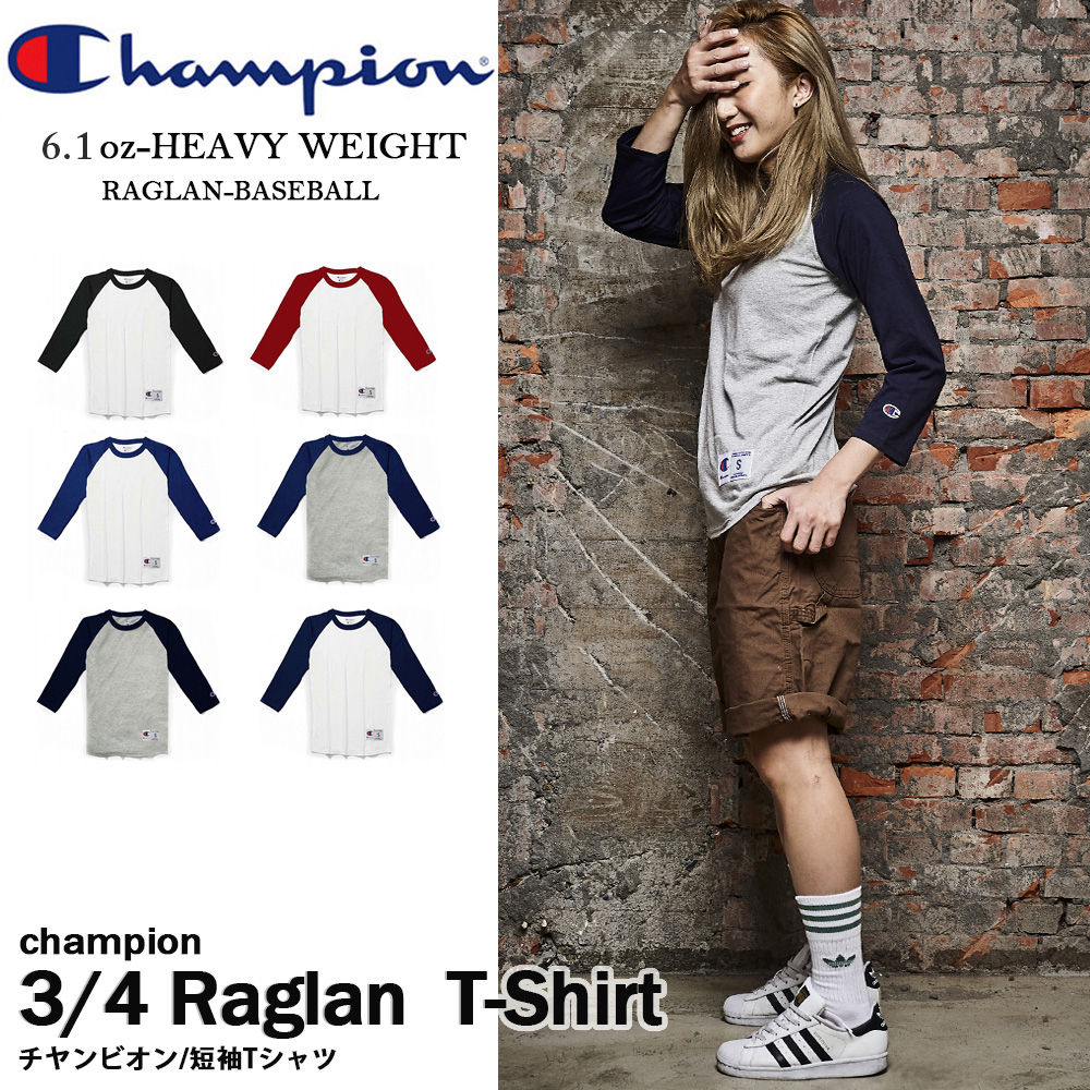 CHAMPION RAGLAN BASEBALL運動冠軍斜肩棒球T 七分袖