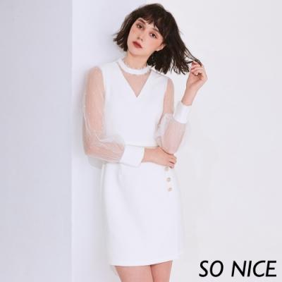 SO NICE浪漫蕾絲領網紗袖修身洋裝