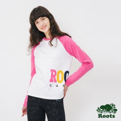 女裝ROOTS - 側邊LOGO刷毛圓領上衣-粉紅