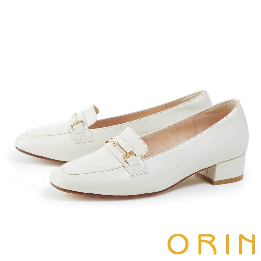 ORIN 氣質馬銜釦真皮低跟 女 樂福鞋 白色