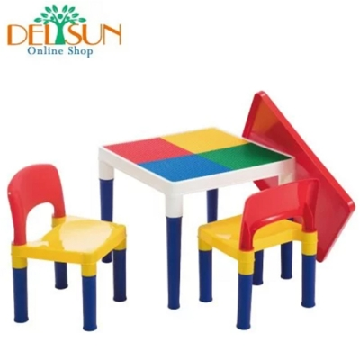 DELSUN岱森城 積木桌椅組 (繽紛彩虹)