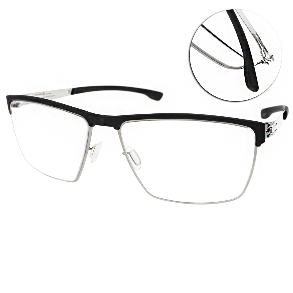 ic!berlin眼鏡 薄鋼工藝眉框/黑-銀#TOMMY G. BLACK CHROME