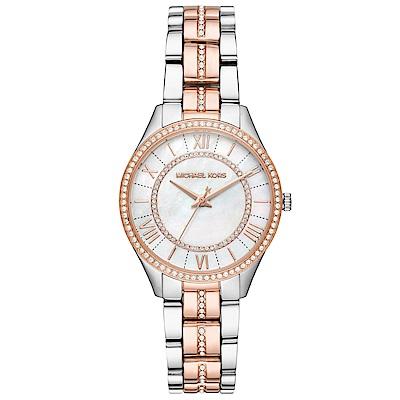 MICHAEL KORS 閃耀晶鑽時尚手錶(MK3979)-珍珠貝X雙色金/33mm