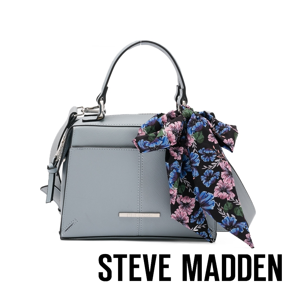 STEVE MADDEN-BREESE 絲巾綁飾手提斜背小方包-灰藍色 product image 1