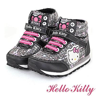 (雙11)HelloKitty 蝴蝶結球球溫暖高筒雪靴童鞋-黑