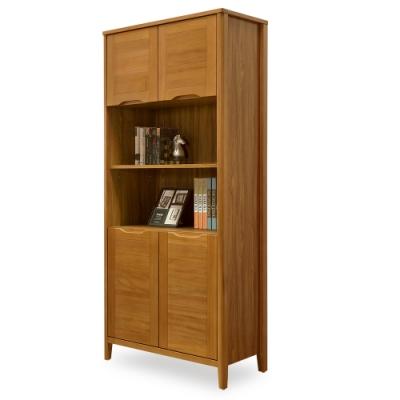 時尚屋  米堤柚木2.7尺四門書櫃 寬81.8x深40x高182.7cm