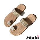 Miaki-拖鞋南洋珍珠編織平底涼鞋-米