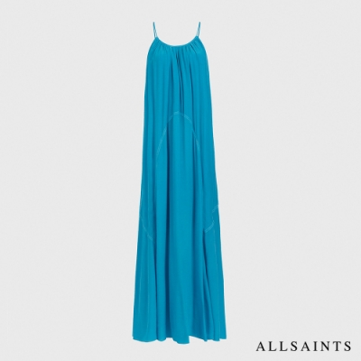 ALLSAINTS AMOR 浪漫迷人輕薄飄逸露背無袖長版連身裙洋裝-夏日藍