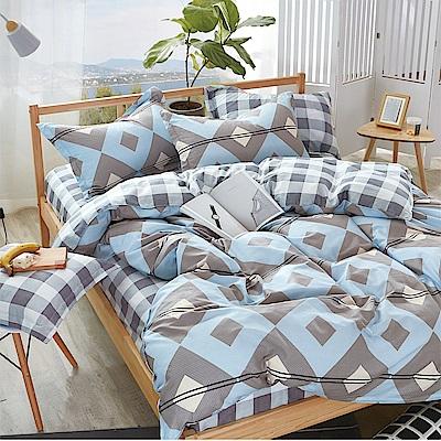 A-one雙人加大床包枕套三件組 水色迴廊 美肌磨毛 台灣製