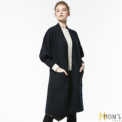 MONS 韓版100%狐狸絨長版針織大衣/外套(黑色)共2色