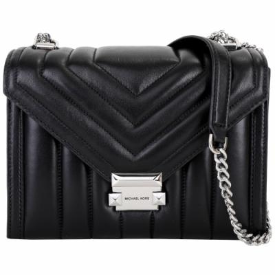 Michael Kors Whitney 大型 銀色方釦衍縫信封鍊帶包(黑色)
