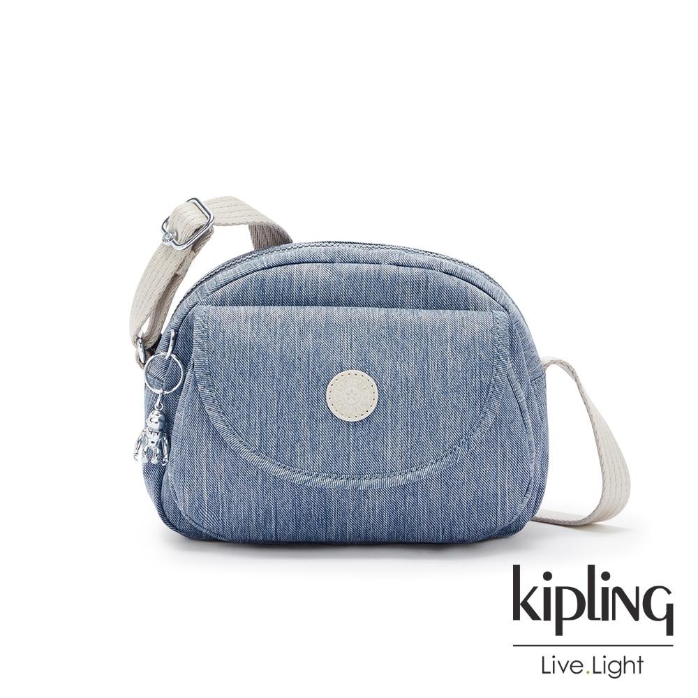 Kipling 淺色丹寧藍翻蓋側背小包-STELMA