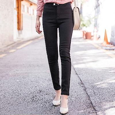 內刷毛纖腿合身純色窄管褲-OB大尺碼
