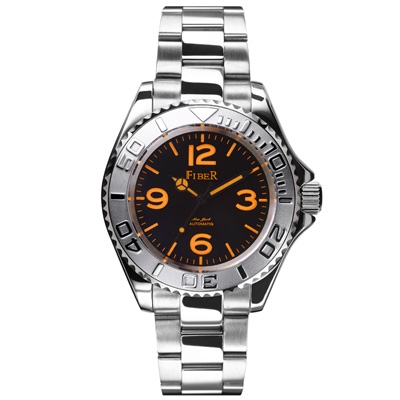 FIBER 美國超時尚夜光運動機械腕錶FB8008-08A-黑橘/40mm