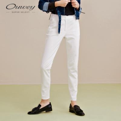 OUWEY歐薇 簡約造型純白直筒褲(白)