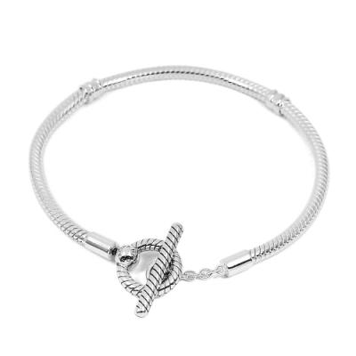 Pandora 潘朵拉 T字扣蛇鏈925純銀手鍊手環