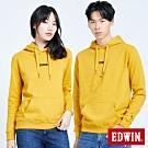 買一送一 EDWIN LOGO繡花內刷毛 厚連帽T恤-中性-黃色
