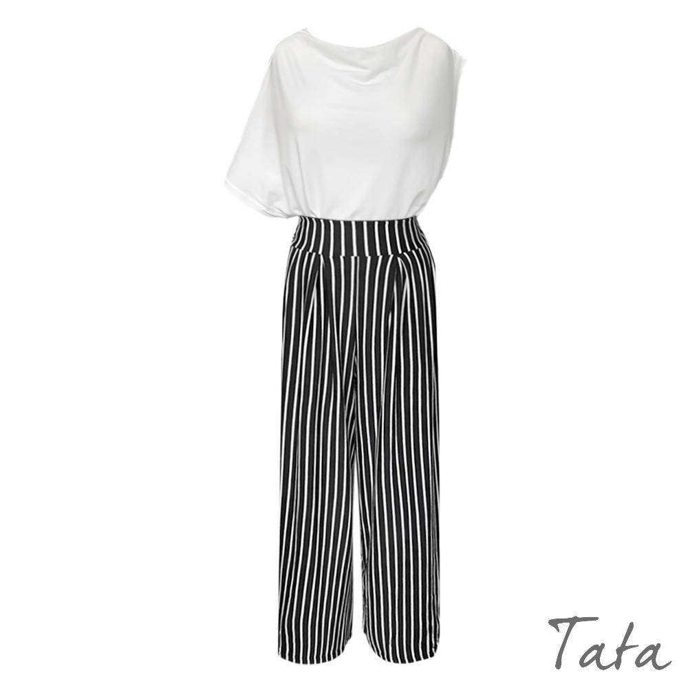 不對稱袖條紋寬褲套裝 共二色 TATA-F