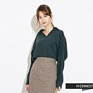 H:CONNECT 韓國品牌 女裝-微開襟素面襯衫-綠
