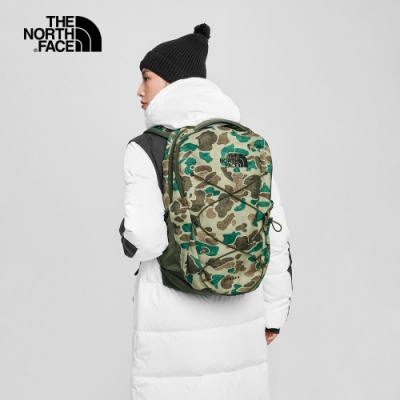 The North Face北面男女款迷彩綠戶外休閒後背包|3VXFTN1