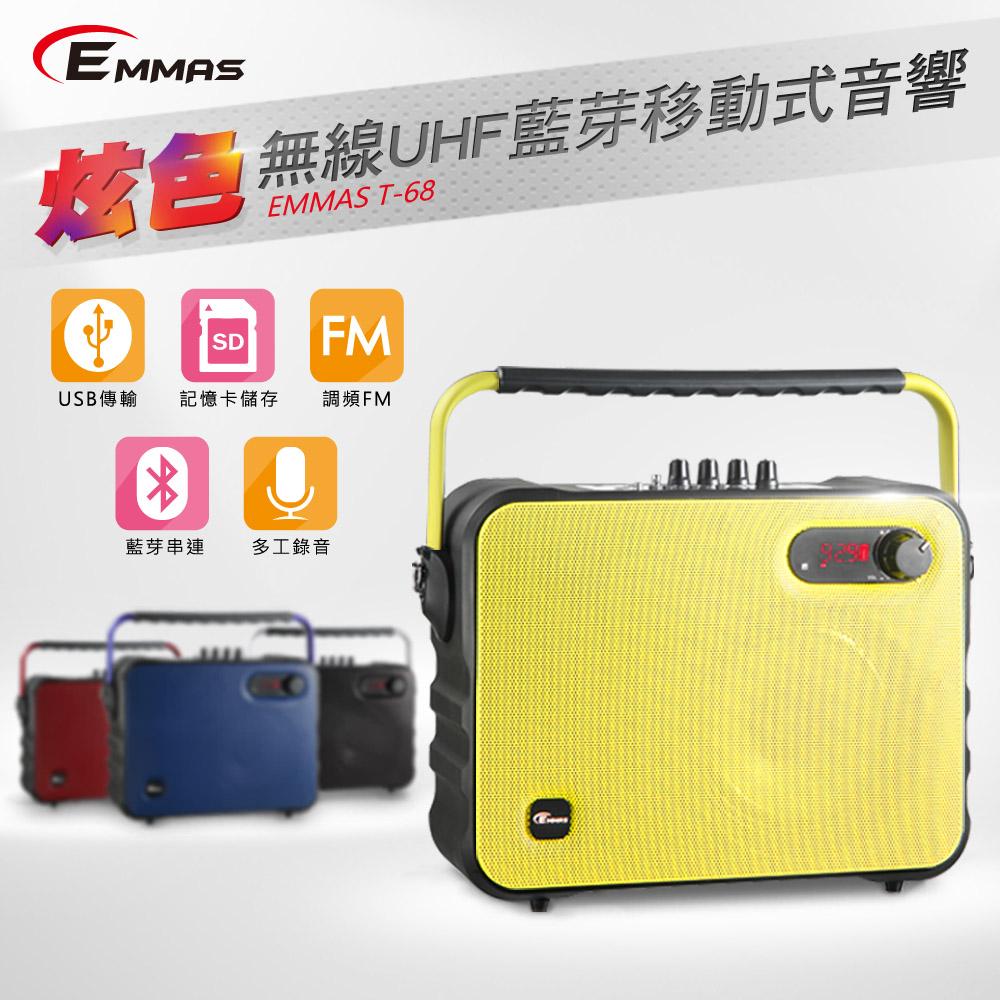 EMMAS 移動式藍芽喇叭/頭戴式教學無線麥克風 (T-68)福利品