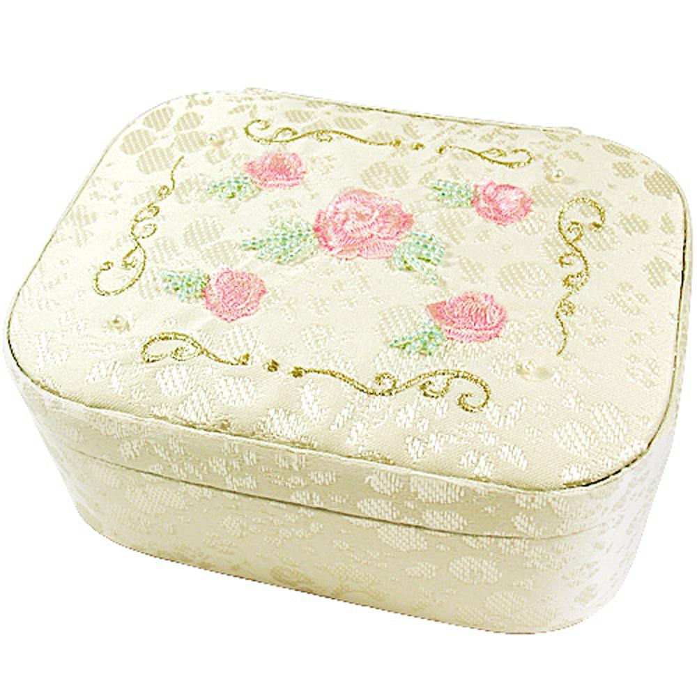 JILL STUART 玫瑰刺繡緹花珠寶盒