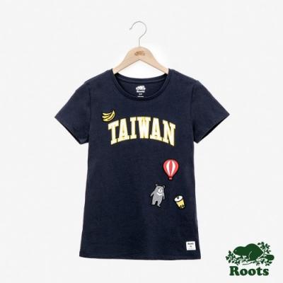 女裝Roots-台灣國慶貼布短袖T恤-藍色