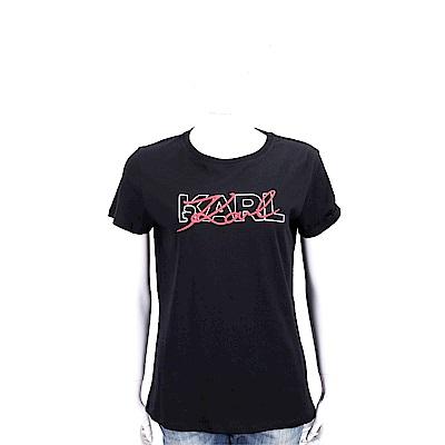 KARL LAGERFELD 刺繡印花雙LOGO黑色棉質短T恤