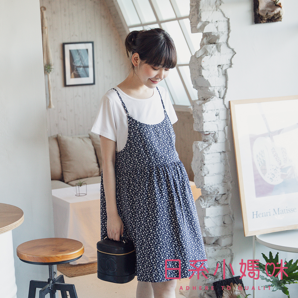 日系小媽咪孕婦裝-哺乳衣~假二件小碎花印圖洋裝