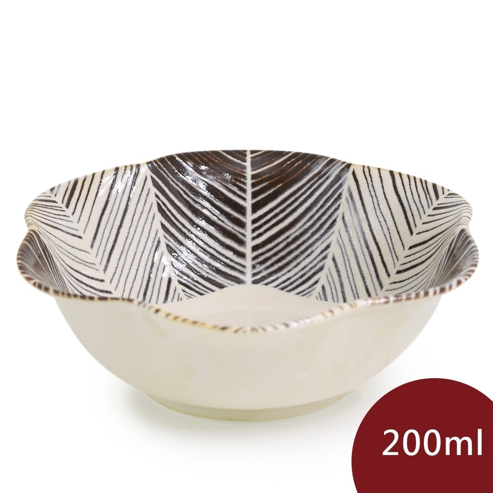 Natural69 波佐見燒  粉引釉 六方押 花形餐碗 羽根 200ml 日本製