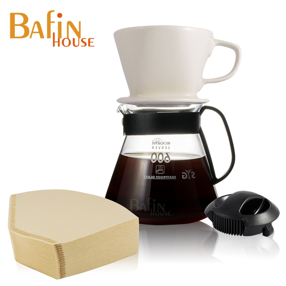 Bafin House 陶瓷咖濾杯玻璃壺組 4人份 (附贈 日本三洋102濾紙 100張)