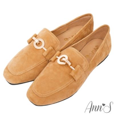 Ann'S爬枕頭山-訂製環扣全真皮懶人舒適平底紳士鞋-棕