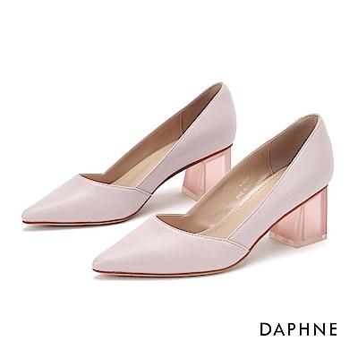 達芙妮DAPHNE 高跟鞋-經典撞色復古粗跟鞋-粉紫