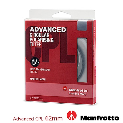 Manfrotto 62mm CPL鏡 Advanced 濾鏡系列