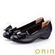 ORIN 鑽飾蝴蝶結牛皮粗低跟鞋 黑色 product thumbnail 1