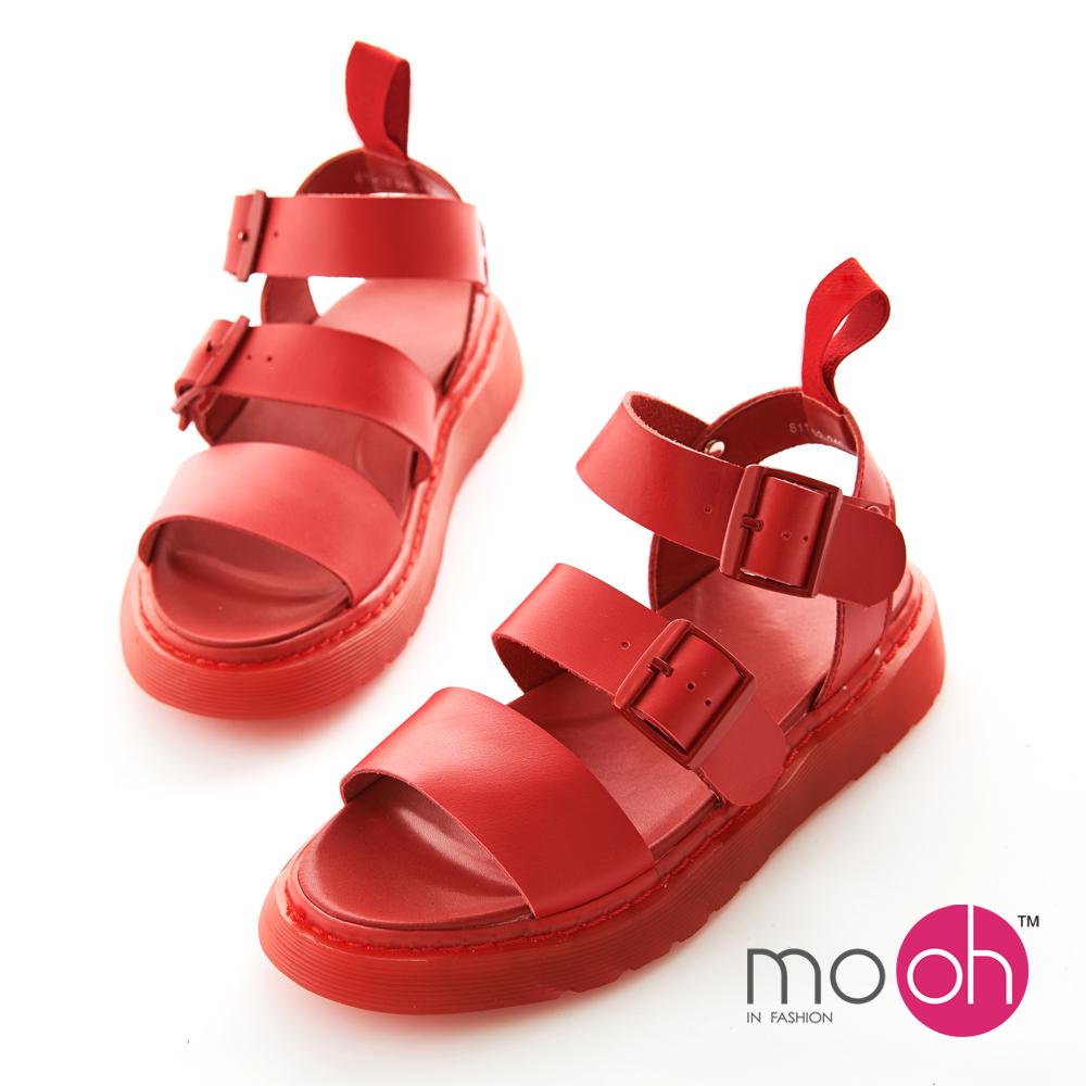 mo.oh 全真皮-圓頭厚底搭扣羅馬涼鞋-紅色