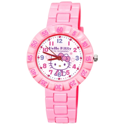 Sanrio三麗鷗 數字轉圈系列手錶Hello Kitty34mm粉紅色