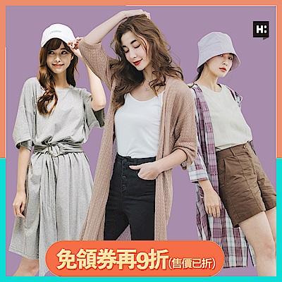 [時時樂限定]H:CONNECT 韓國品牌 女裝 -韓系亮色系襯衫/洋裝-紫