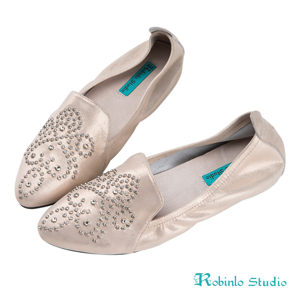 Robinlo 古典鑲鑽圖騰低調絲光軟皮平底鞋 粉紅