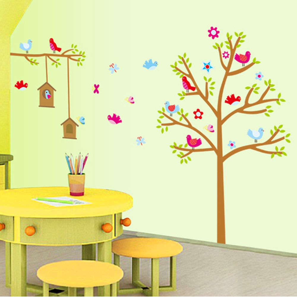 半島良品 DIY無痕壁貼-快樂鳥樹屋 AY9097 60x90cm