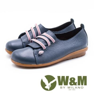 W&M 童趣撞色 圓頭娃娃休閒鞋 女鞋-深藍(另有紅、薑黃)