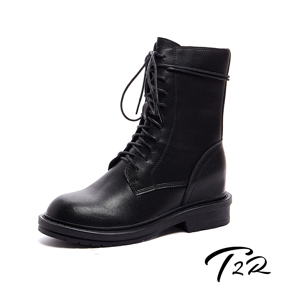 T2R-正韓空運-全真皮高筒綁帶設計拉鍊穿脫隱形增高靴-增高7公分-黑