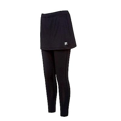 FILA 女款抗UV吸濕排汗針織裙褲-黑 5PNS-5313-BK