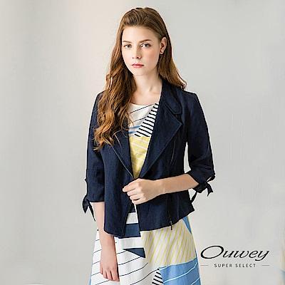 OUWEY歐薇 造型剪裁立領亞麻外套(白/藍)