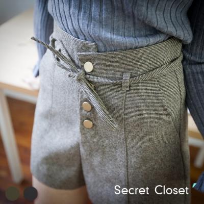 Secret Closet-毛呢不規則高腰A字短褲