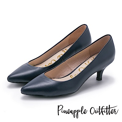 Pineapple Outfitter 簡約風尚 素面尖頭中跟鞋-深藍