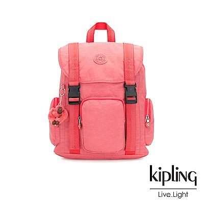 Kipling甜美蜜桃橘素面插扣束口掀蓋式後背包-IZIR